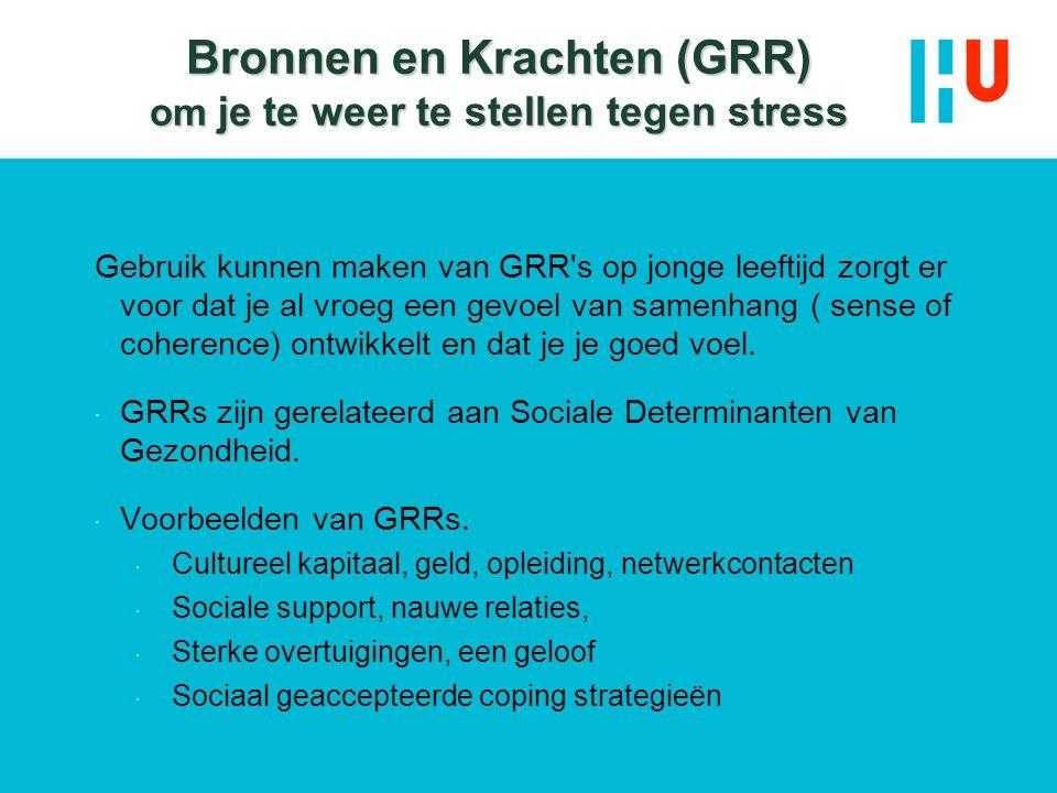 Bronnen en Krachten (GRR) om je te weer te stellen tegen stress Gebruik kunnen maken van GRR's op jonge leeftijd zorgt er voor dat je al vroeg een gev