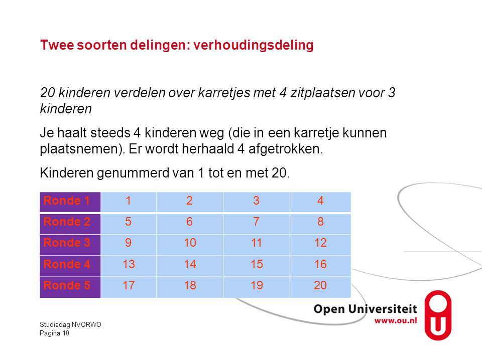 Twee soorten delingen: verhoudingsdeling 20 kinderen verdelen over karretjes met 4 zitplaatsen voor 3 kinderen Je haalt steeds 4 kinderen weg (die in