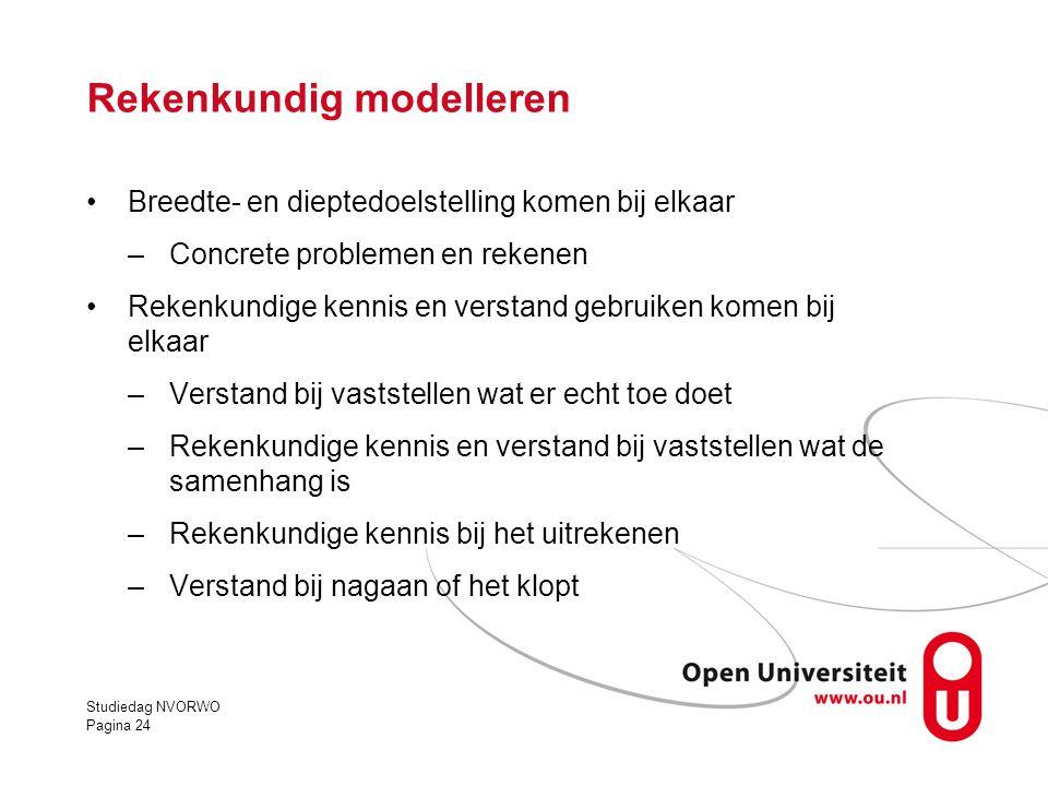 Rekenkundig modelleren •Breedte- en dieptedoelstelling komen bij elkaar –Concrete problemen en rekenen •Rekenkundige kennis en verstand gebruiken kome