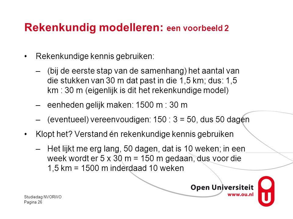 Rekenkundig modelleren: een voorbeeld 2 •Rekenkundige kennis gebruiken: –(bij de eerste stap van de samenhang) het aantal van die stukken van 30 m dat