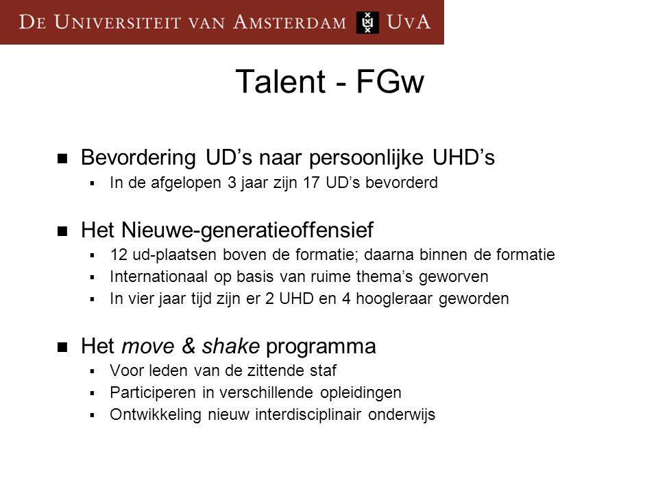 Talent - FGw  Bevordering UD's naar persoonlijke UHD's  In de afgelopen 3 jaar zijn 17 UD's bevorderd  Het Nieuwe-generatieoffensief  12 ud-plaats