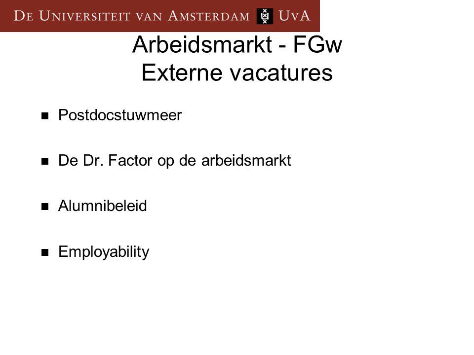 Arbeidsmarkt - FGw Externe vacatures  Postdocstuwmeer  De Dr. Factor op de arbeidsmarkt  Alumnibeleid  Employability
