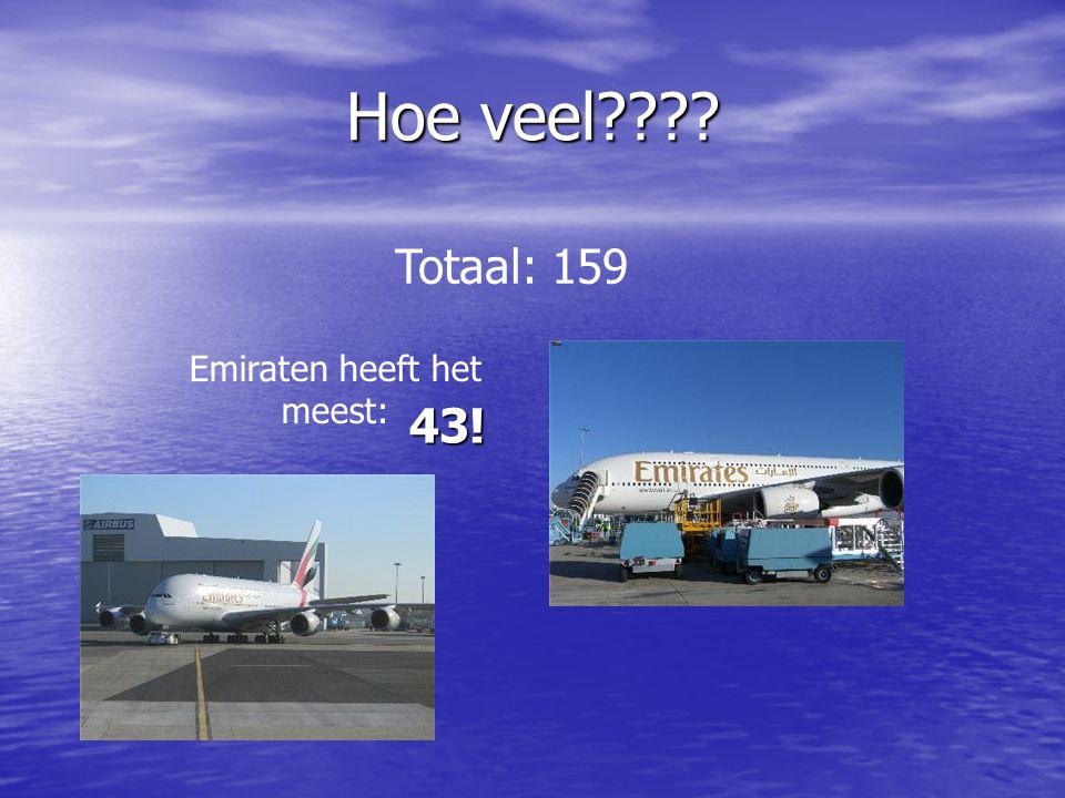Hoe veel???? Totaal: 159 Emiraten heeft het meest: 43!