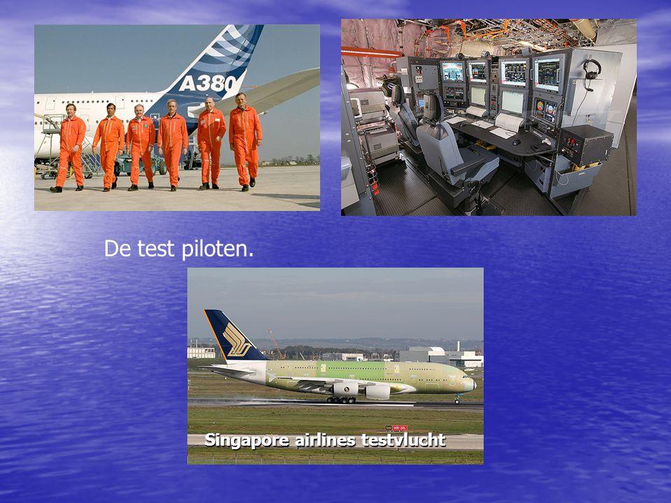 De test piloten. Singapore airlines testvlucht