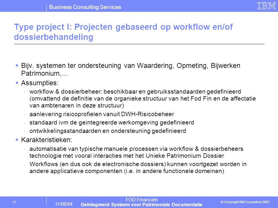 Business Consulting Services © Copyright IBM Corporation 2002 FOD Financiën Geïntegreerd Systeem voor Patrimoniale Documentatie 11/06/04 13 Type project I: Projecten gebaseerd op workflow en/of dossierbehandeling  Bijv.