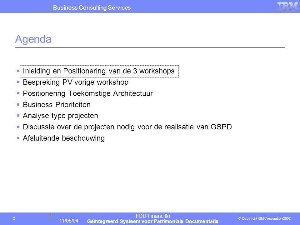 Business Consulting Services © Copyright IBM Corporation 2004 11/06/04 FOD Financiën Geïntegreerd Systeem voor Patrimoniale Documentatie 23 3de deel van een mogelijke project sequentie Stap uit het STIR project