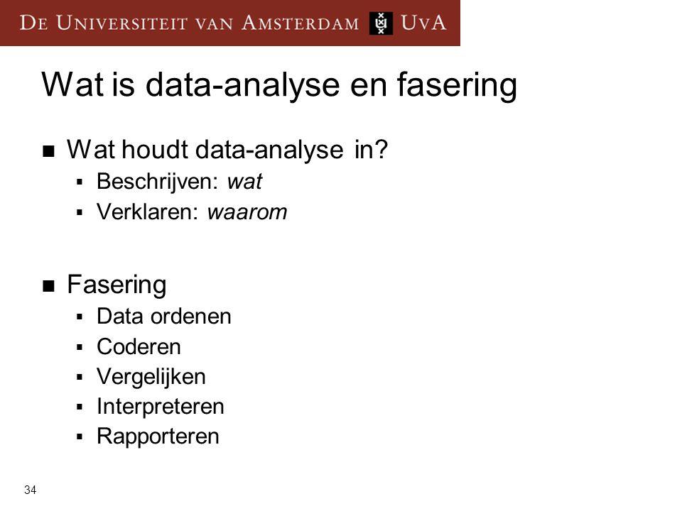 34 Wat is data-analyse en fasering  Wat houdt data-analyse in.