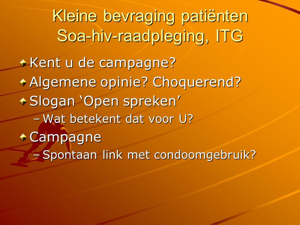 Kleine bevraging patiënten Soa-hiv-raadpleging, ITG Kent u de campagne? Algemene opinie? Choquerend? Slogan 'Open spreken' –Wat betekent dat voor U? C
