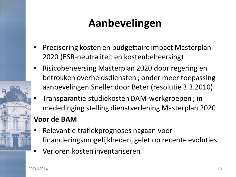 Aanbevelingen • Precisering kosten en budgettaire impact Masterplan 2020 (ESR-neutraliteit en kostenbeheersing) • Risicobeheersing Masterplan 2020 doo