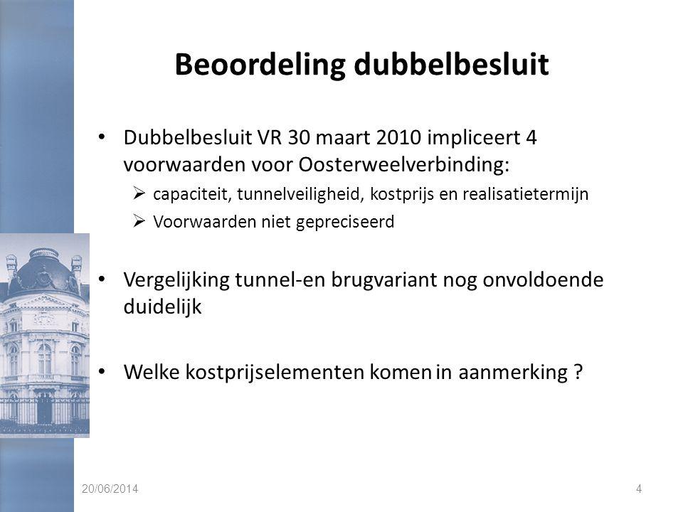 Beoordeling dubbelbesluit • Dubbelbesluit VR 30 maart 2010 impliceert 4 voorwaarden voor Oosterweelverbinding:  capaciteit, tunnelveiligheid, kostprijs en realisatietermijn  Voorwaarden niet gepreciseerd • Vergelijking tunnel-en brugvariant nog onvoldoende duidelijk • Welke kostprijselementen komen in aanmerking .