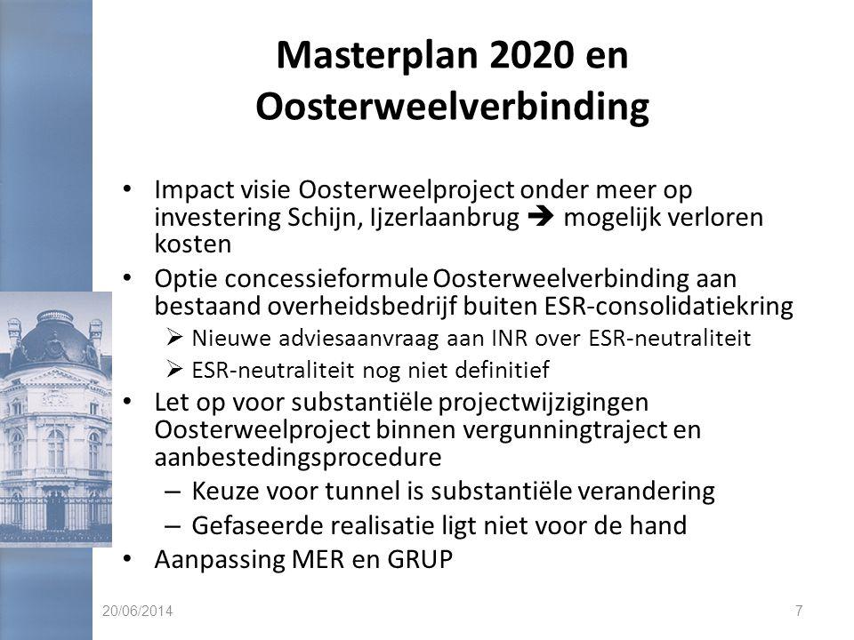 Masterplan 2020 en Oosterweelverbinding • Impact visie Oosterweelproject onder meer op investering Schijn, Ijzerlaanbrug  mogelijk verloren kosten •