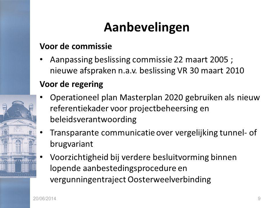 Aanbevelingen • Precisering kosten en budgettaire impact Masterplan 2020 (ESR-neutraliteit en kostenbeheersing) • Risicobeheersing Masterplan 2020 door regering en betrokken overheidsdiensten ; onder meer toepassing aanbevelingen Sneller door Beter (resolutie 3.3.2010) • Transparantie studiekosten DAM-werkgroepen ; in mededinging stelling dienstverlening Masterplan 2020 Voor de BAM • Relevantie trafiekprognoses nagaan voor financieringsmogelijkheden, gelet op recente evoluties • Verloren kosten inventariseren 20/06/201410