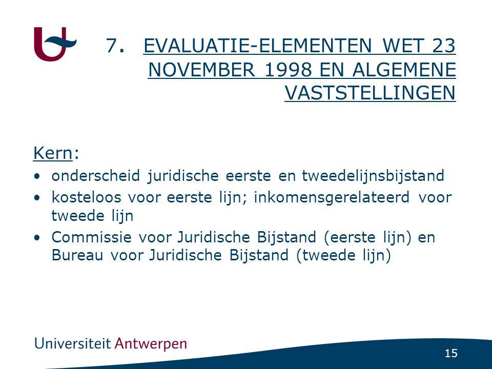 15 7. EVALUATIE-ELEMENTEN WET 23 NOVEMBER 1998 EN ALGEMENE VASTSTELLINGEN Kern: •onderscheid juridische eerste en tweedelijnsbijstand •kosteloos voor