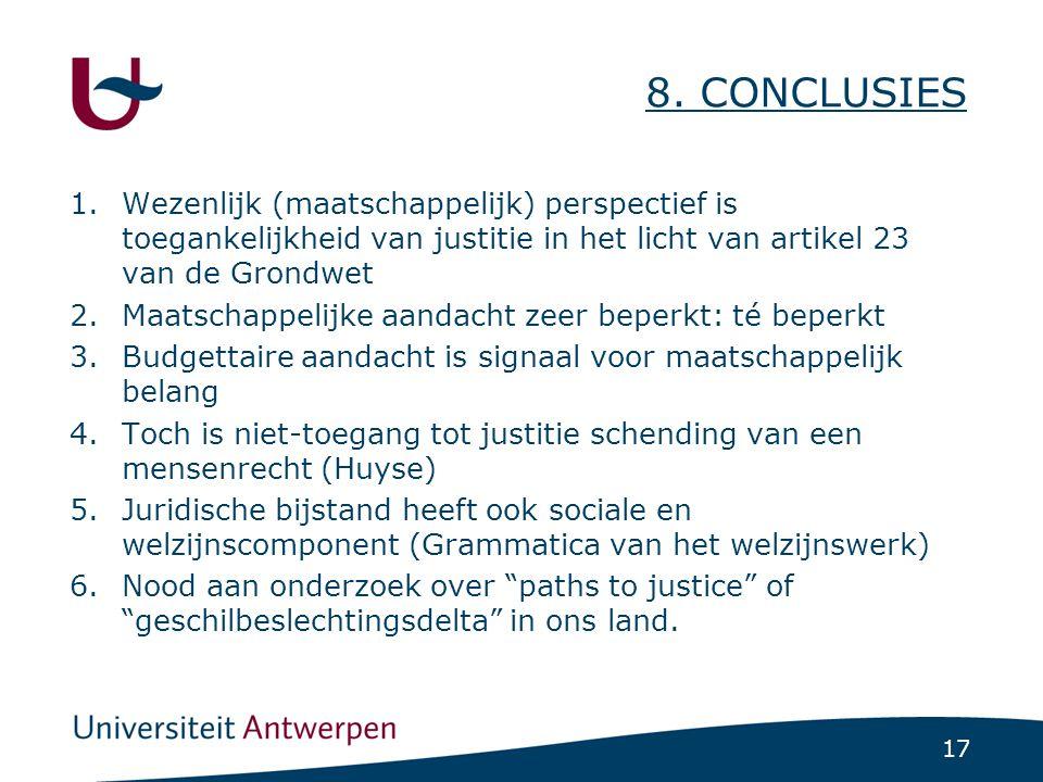 17 8. CONCLUSIES 1.Wezenlijk (maatschappelijk) perspectief is toegankelijkheid van justitie in het licht van artikel 23 van de Grondwet 2.Maatschappel