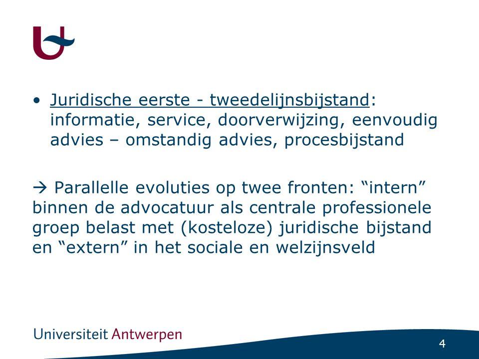 4 •Juridische eerste - tweedelijnsbijstand: informatie, service, doorverwijzing, eenvoudig advies – omstandig advies, procesbijstand  Parallelle evol