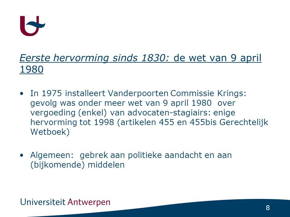 8 Eerste hervorming sinds 1830: de wet van 9 april 1980 •In 1975 installeert Vanderpoorten Commissie Krings: gevolg was onder meer wet van 9 april 198
