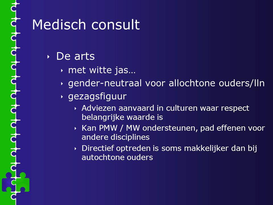 Medisch consult  De arts  met witte jas…  gender-neutraal voor allochtone ouders/lln  gezagsfiguur  Adviezen aanvaard in culturen waar respect be