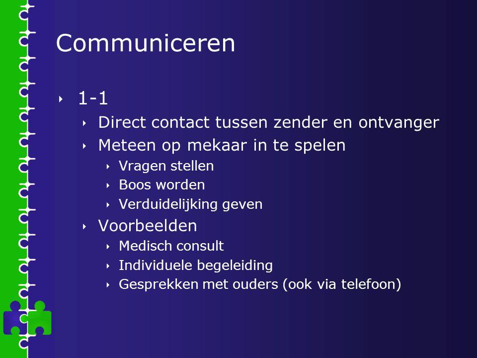 Communiceren  1-1  Direct contact tussen zender en ontvanger  Meteen op mekaar in te spelen  Vragen stellen  Boos worden  Verduidelijking geven