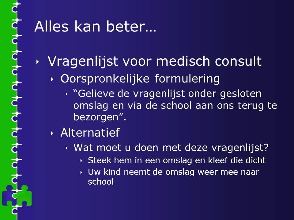 """Alles kan beter…  Vragenlijst voor medisch consult  Oorspronkelijke formulering  """"Gelieve de vragenlijst onder gesloten omslag en via de school aan"""