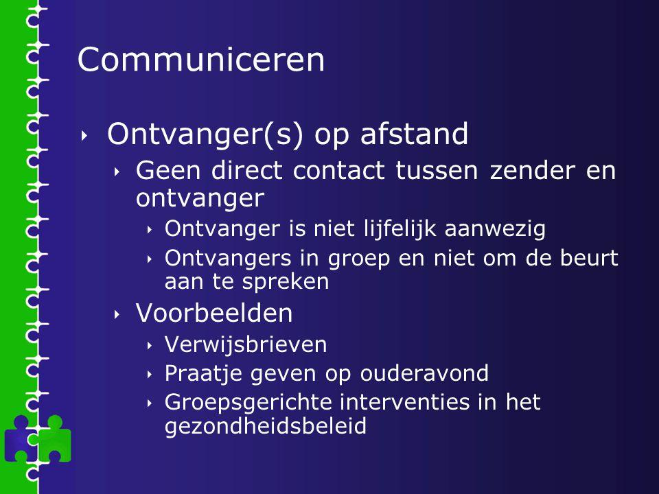 Communiceren  Ontvanger(s) op afstand  Geen direct contact tussen zender en ontvanger  Ontvanger is niet lijfelijk aanwezig  Ontvangers in groep e