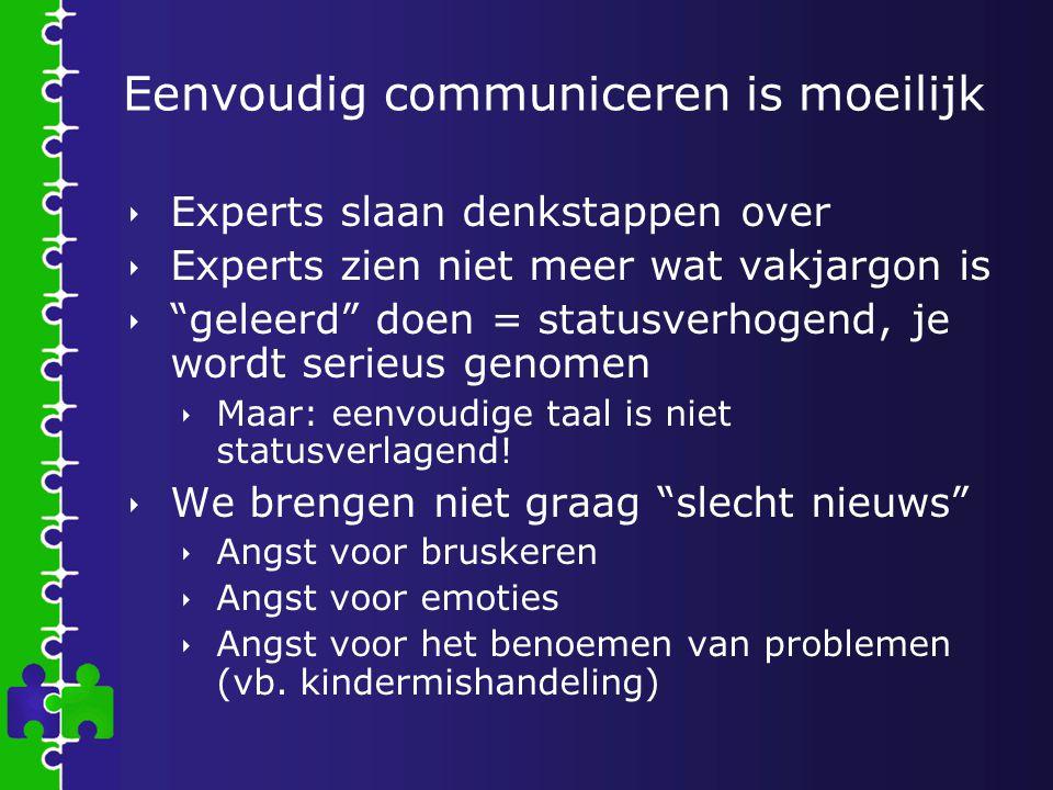 """Eenvoudig communiceren is moeilijk  Experts slaan denkstappen over  Experts zien niet meer wat vakjargon is  """"geleerd"""" doen = statusverhogend, je w"""