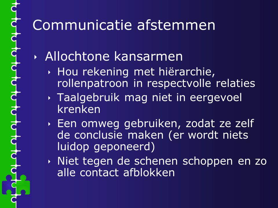 Communicatie afstemmen  Allochtone kansarmen  Hou rekening met hiërarchie, rollenpatroon in respectvolle relaties  Taalgebruik mag niet in eergevoe