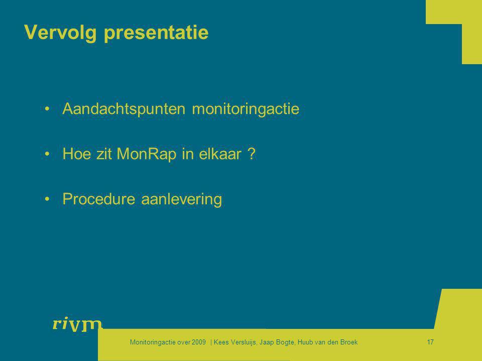 Monitoringactie over 2009 | Kees Versluijs, Jaap Bogte, Huub van den Broek17 Vervolg presentatie •Aandachtspunten monitoringactie •Hoe zit MonRap in e