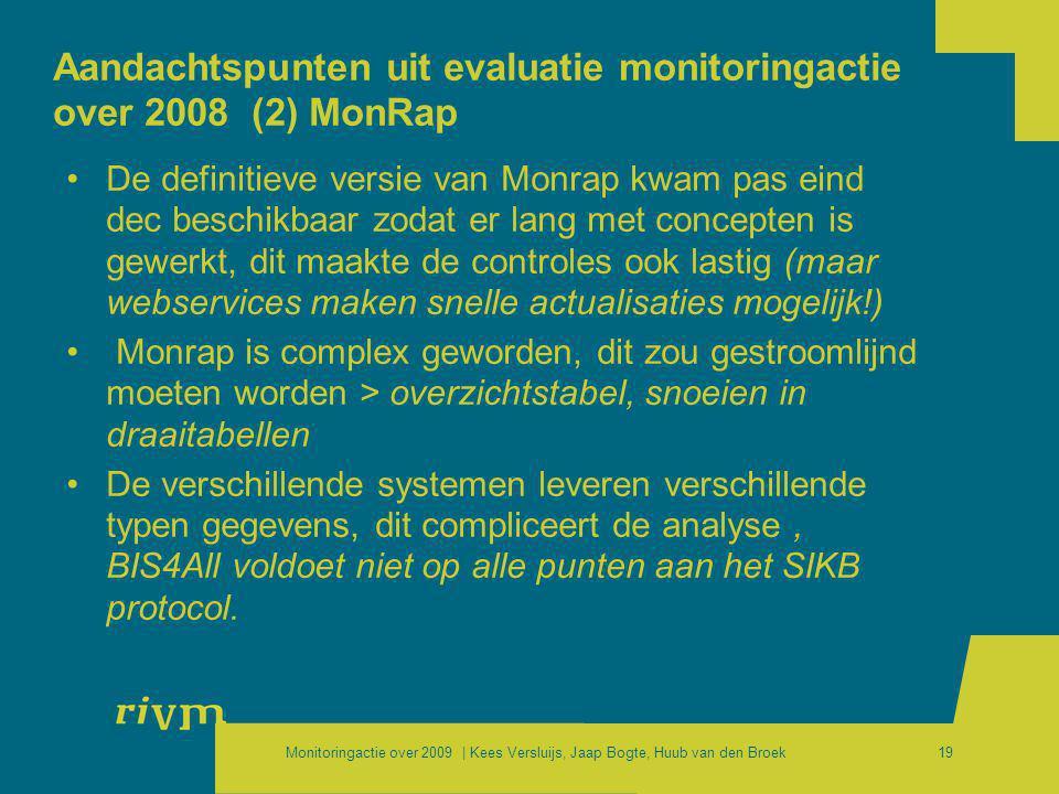 Monitoringactie over 2009 | Kees Versluijs, Jaap Bogte, Huub van den Broek19 Aandachtspunten uit evaluatie monitoringactie over 2008 (2) MonRap •De de