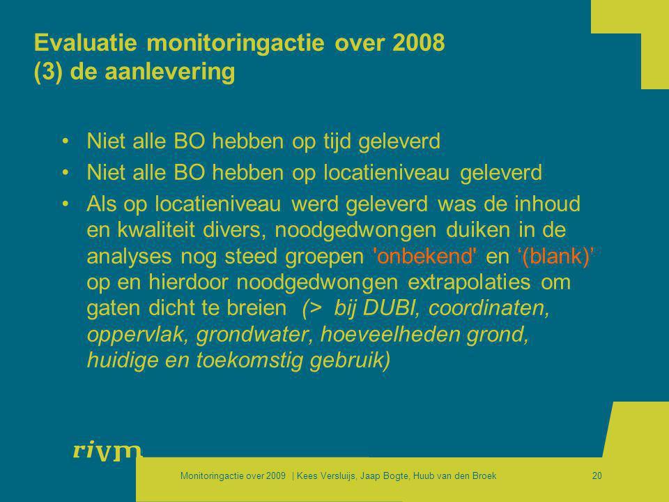 Monitoringactie over 2009 | Kees Versluijs, Jaap Bogte, Huub van den Broek20 Evaluatie monitoringactie over 2008 (3) de aanlevering •Niet alle BO hebb