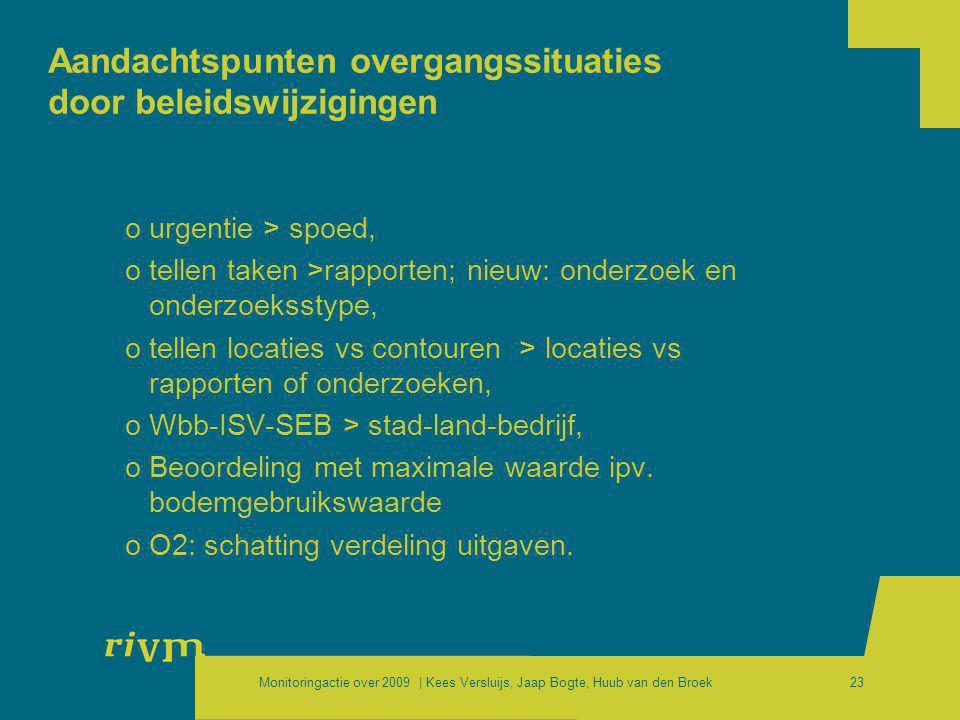 Monitoringactie over 2009 | Kees Versluijs, Jaap Bogte, Huub van den Broek23 Aandachtspunten overgangssituaties door beleidswijzigingen ourgentie > sp
