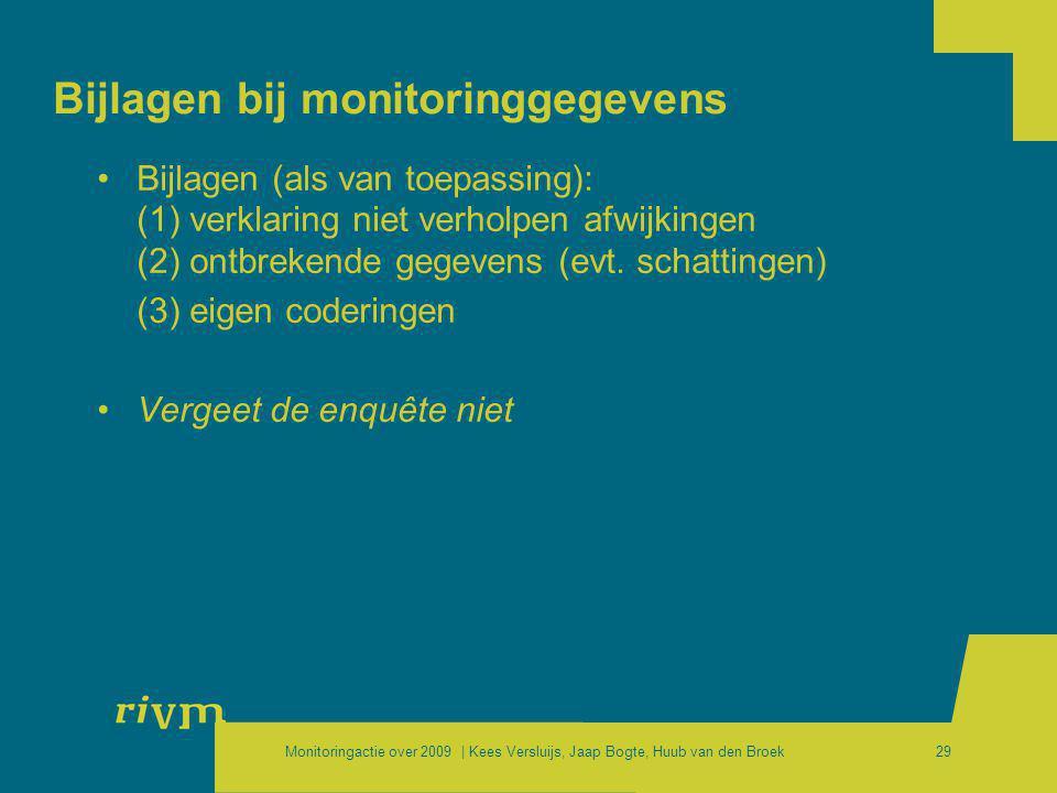 Monitoringactie over 2009 | Kees Versluijs, Jaap Bogte, Huub van den Broek29 Bijlagen bij monitoringgegevens •Bijlagen (als van toepassing): (1) verkl