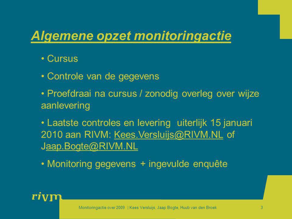 Monitoringactie over 2009 | Kees Versluijs, Jaap Bogte, Huub van den Broek3 Algemene opzet monitoringactie • Cursus • Controle van de gegevens • Proef