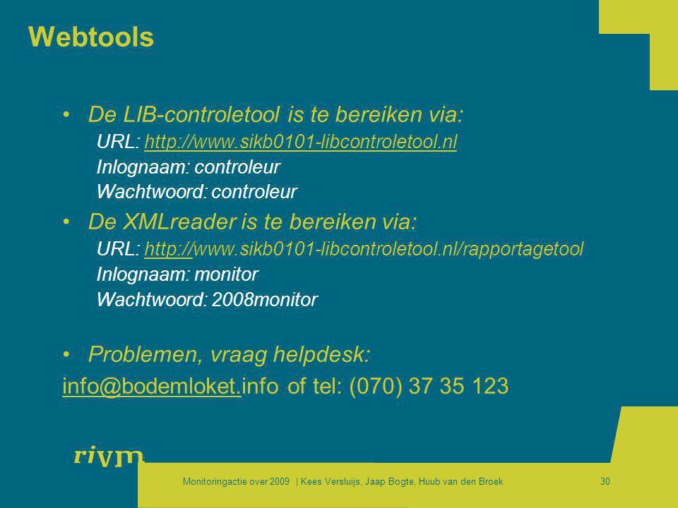 Monitoringactie over 2009 | Kees Versluijs, Jaap Bogte, Huub van den Broek30 Webtools •De LIB-controletool is te bereiken via: URL: http://www.sikb010