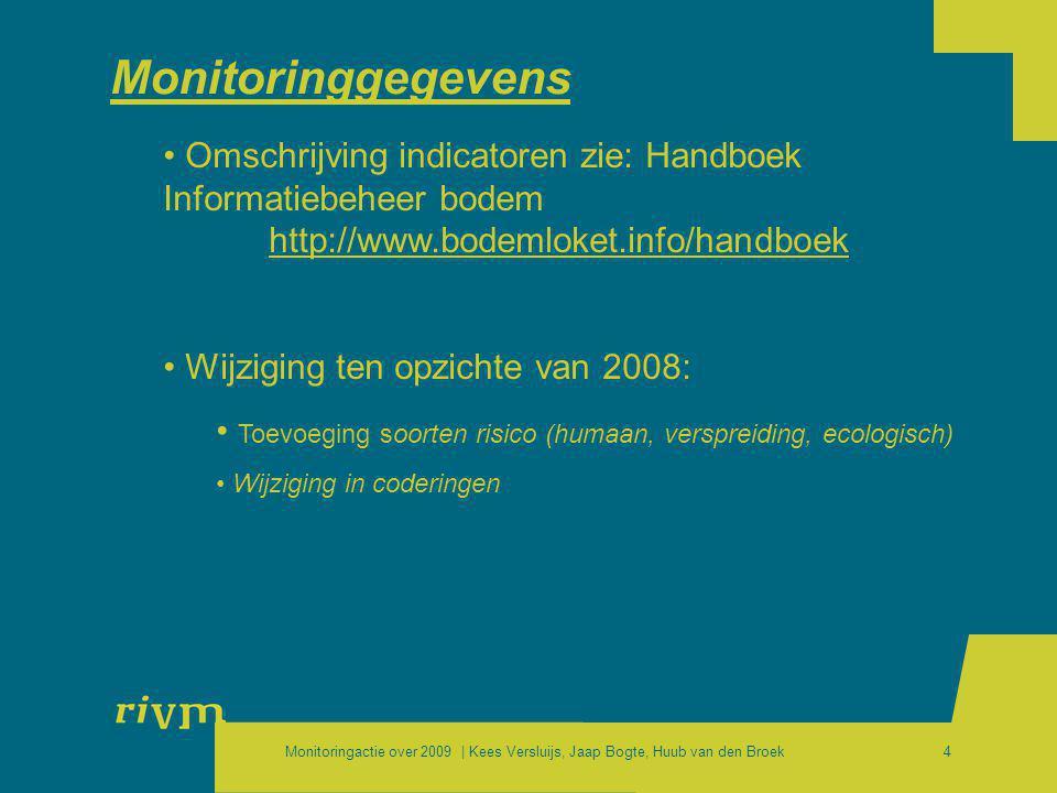 Monitoringactie over 2009 | Kees Versluijs, Jaap Bogte, Huub van den Broek4 Monitoringgegevens • Omschrijving indicatoren zie: Handboek Informatiebehe