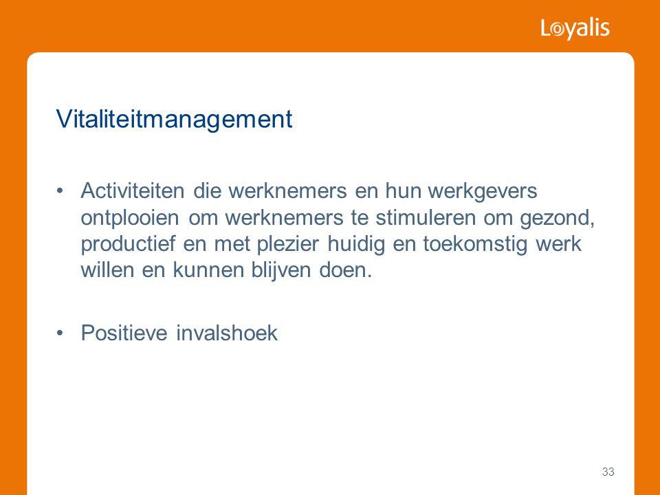 33 Vitaliteitmanagement •Activiteiten die werknemers en hun werkgevers ontplooien om werknemers te stimuleren om gezond, productief en met plezier hui