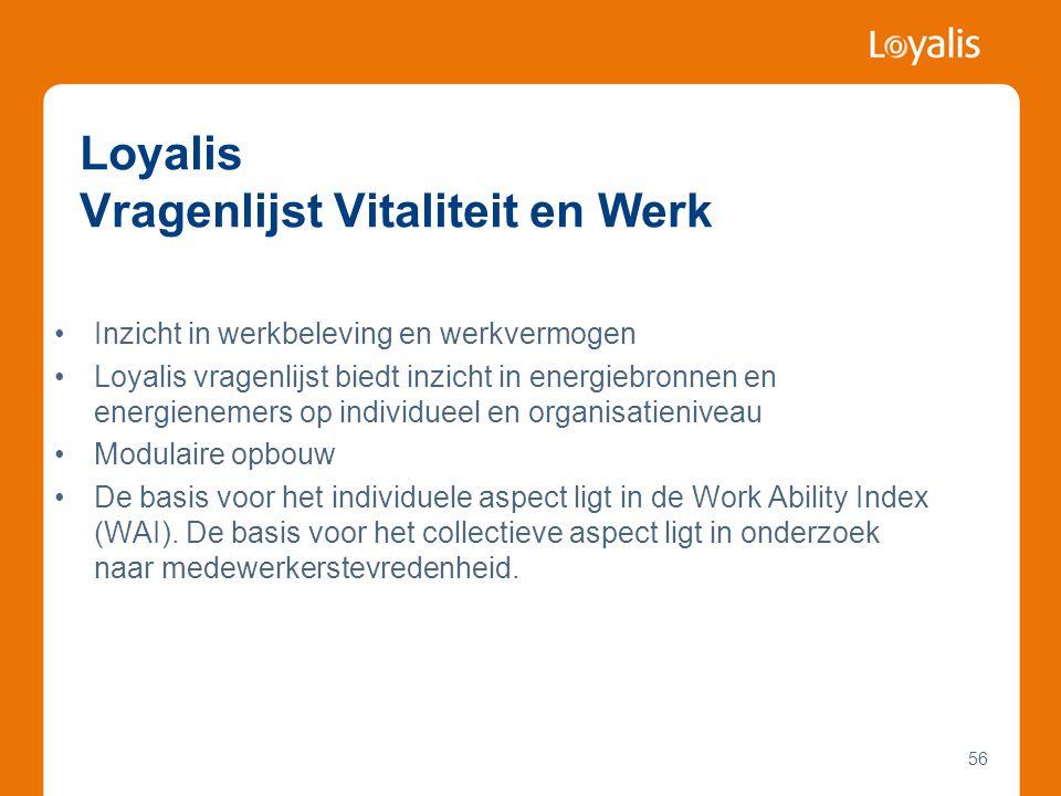 56 Loyalis Vragenlijst Vitaliteit en Werk •Inzicht in werkbeleving en werkvermogen •Loyalis vragenlijst biedt inzicht in energiebronnen en energieneme