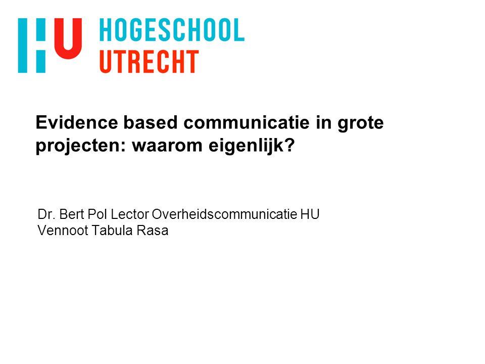 Evidence based communicatie in grote projecten: waarom eigenlijk.