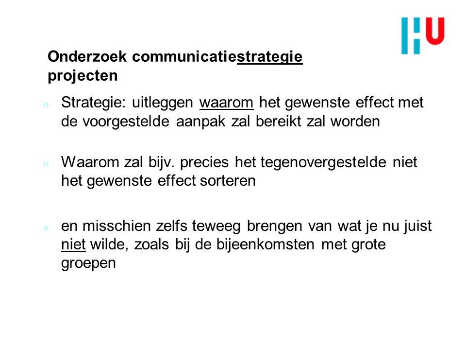 Onderzoek communicatiestrategie projecten n Strategie: uitleggen waarom het gewenste effect met de voorgestelde aanpak zal bereikt zal worden n Waarom zal bijv.