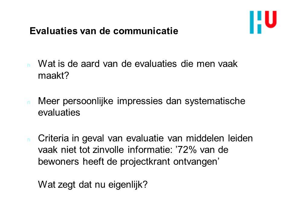 Evaluaties van de communicatie n Wat is de aard van de evaluaties die men vaak maakt.