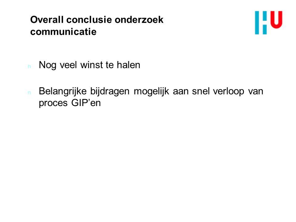 Overall conclusie onderzoek communicatie n Nog veel winst te halen n Belangrijke bijdragen mogelijk aan snel verloop van proces GIP'en