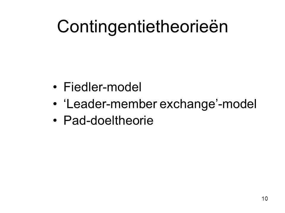10 Contingentietheorieën •Fiedler-model •'Leader-member exchange'-model •Pad-doeltheorie