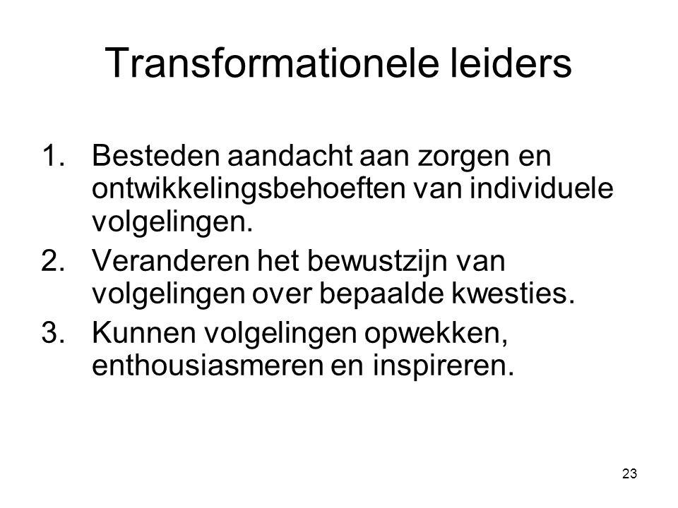 23 Transformationele leiders 1.Besteden aandacht aan zorgen en ontwikkelingsbehoeften van individuele volgelingen. 2.Veranderen het bewustzijn van vol