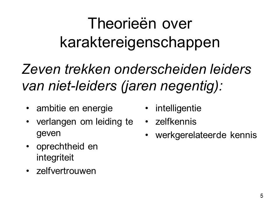 5 Theorieën over karaktereigenschappen •ambitie en energie •verlangen om leiding te geven •oprechtheid en integriteit •zelfvertrouwen •intelligentie •