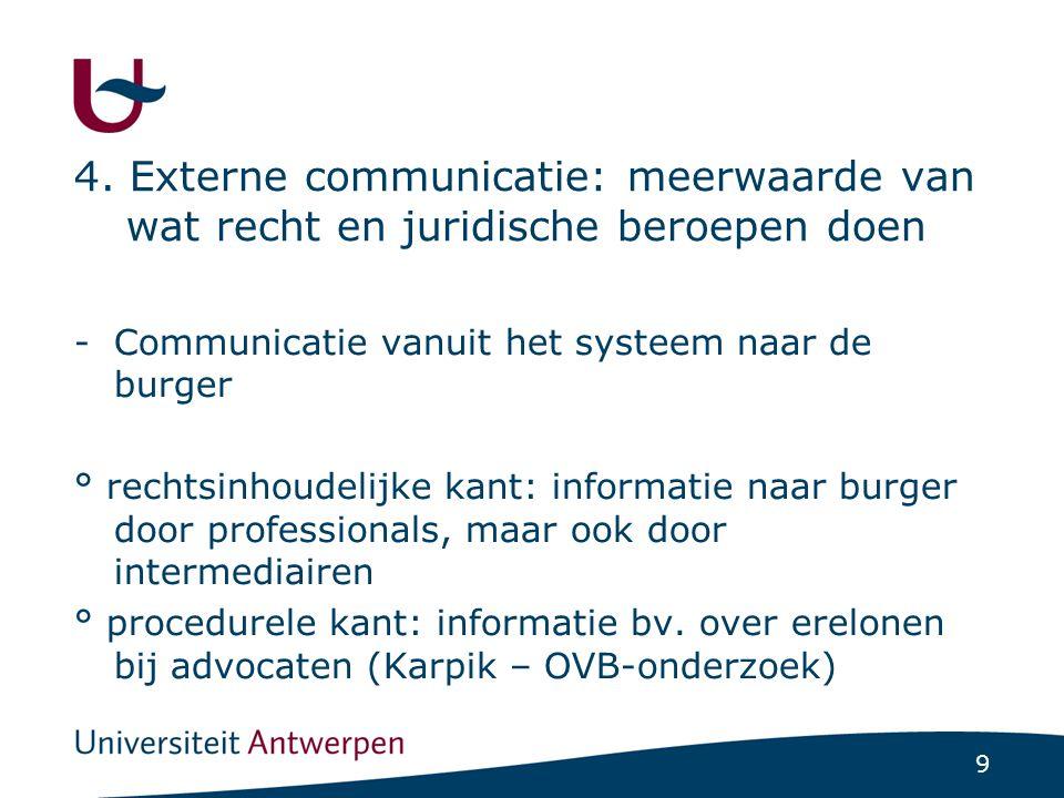 9 4. Externe communicatie: meerwaarde van wat recht en juridische beroepen doen -Communicatie vanuit het systeem naar de burger ° rechtsinhoudelijke k