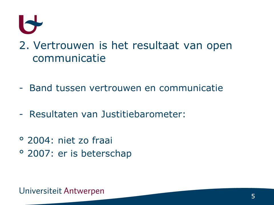 5 2. Vertrouwen is het resultaat van open communicatie -Band tussen vertrouwen en communicatie -Resultaten van Justitiebarometer: ° 2004: niet zo fraa