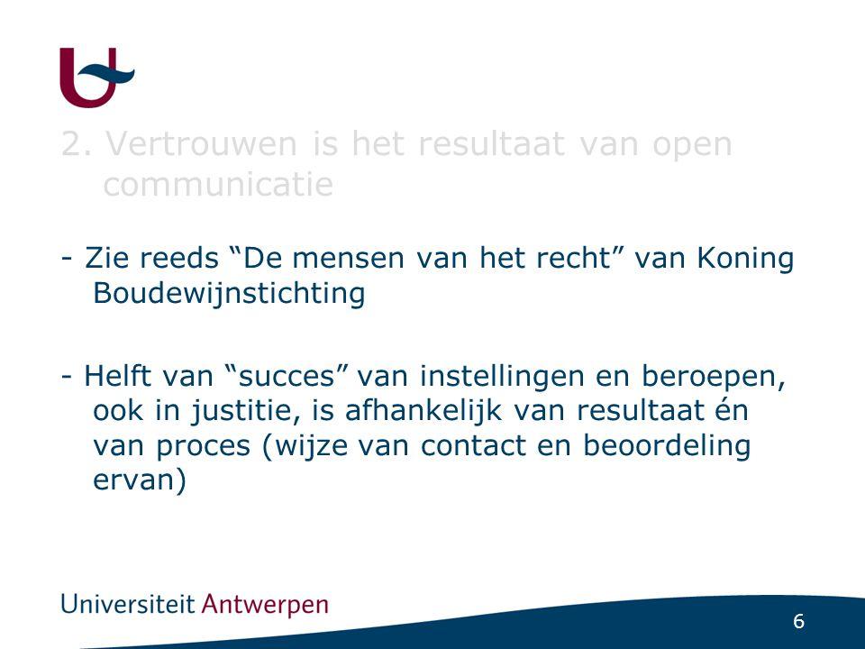 """6 2. Vertrouwen is het resultaat van open communicatie - Zie reeds """"De mensen van het recht"""" van Koning Boudewijnstichting - Helft van """"succes"""" van in"""