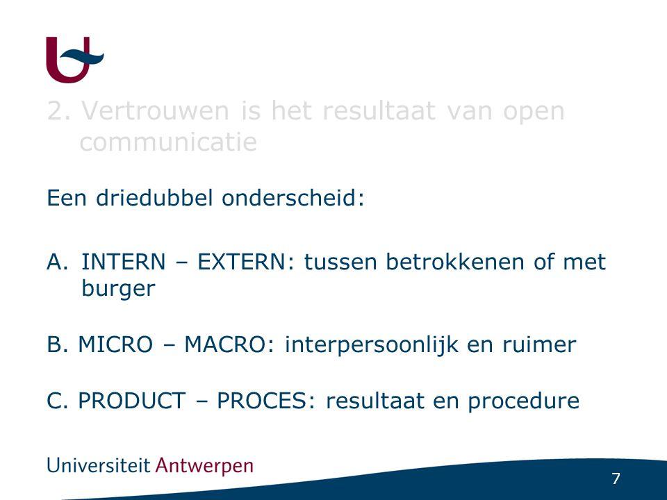 7 2. Vertrouwen is het resultaat van open communicatie Een driedubbel onderscheid: A.INTERN – EXTERN: tussen betrokkenen of met burger B. MICRO – MACR