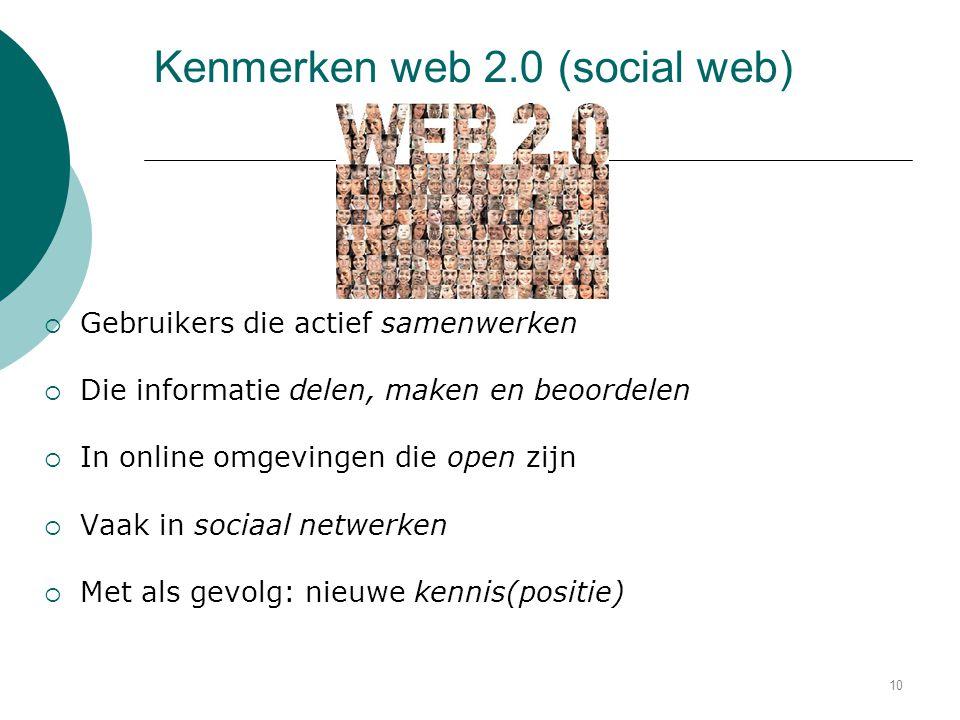 Kenmerken web 2.0 (social web)  Gebruikers die actief samenwerken  Die informatie delen, maken en beoordelen  In online omgevingen die open zijn 
