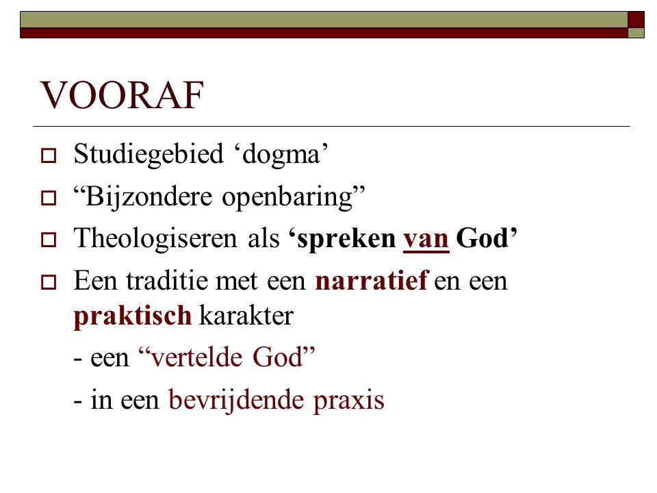 """VOORAF  Studiegebied 'dogma'  """"Bijzondere openbaring""""  Theologiseren als 'spreken van God'  Een traditie met een narratief en een praktisch karakt"""