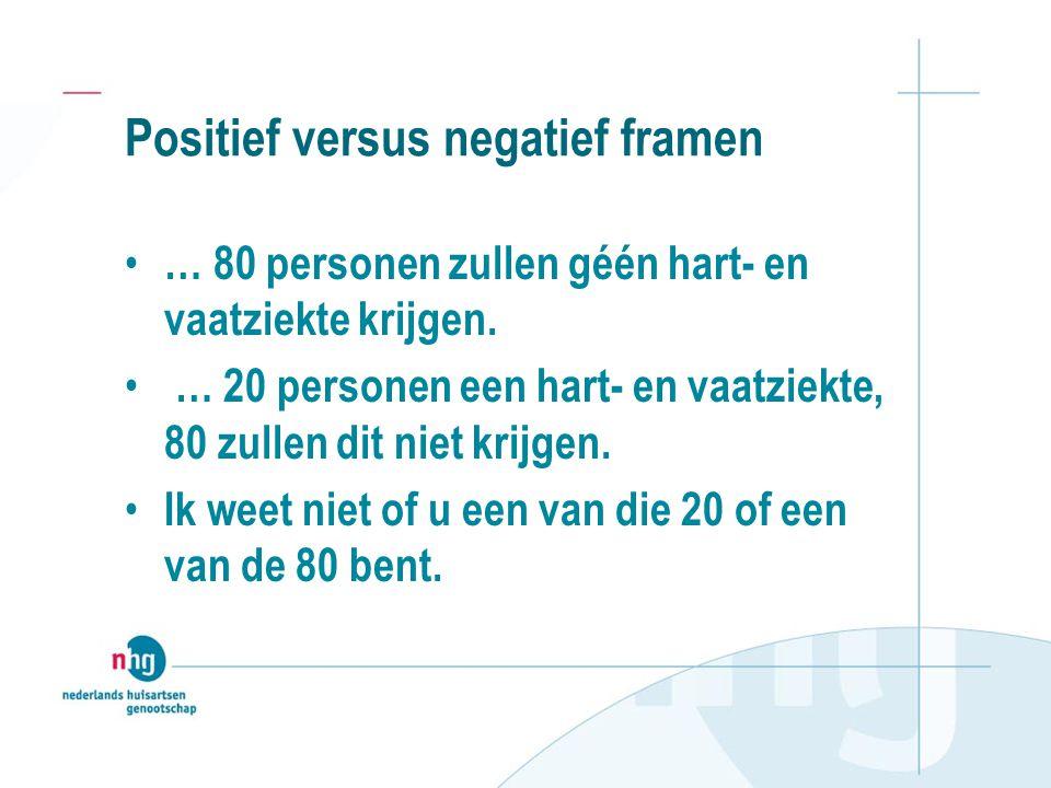 Positief versus negatief framen • … 80 personen zullen géén hart- en vaatziekte krijgen.